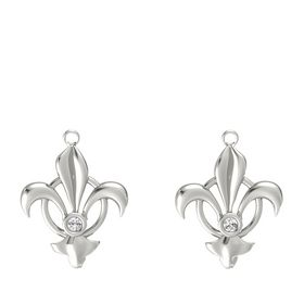 Platinum Earring with White Sapphire