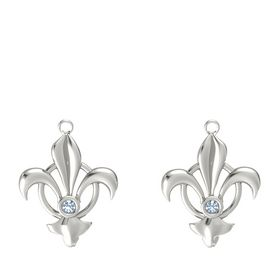Platinum Earring with Blue Topaz