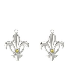 Platinum Earrings with Yellow Sapphire