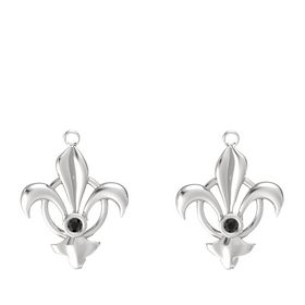 Sterling Silver Earrings with Black Diamond