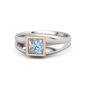 Princess Aquamarine Sterling Silver Ring