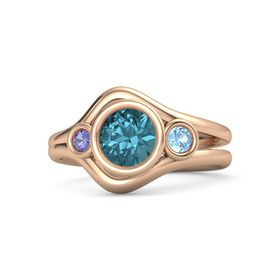 Round London Blue Topaz 14K Rose Gold Ring with Blue Topaz and Iolite