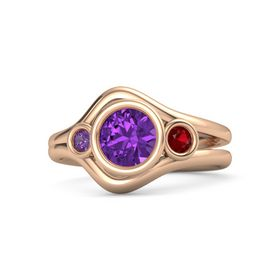 Round Amethyst 14K Rose Gold Ring with Ruby & Amethyst