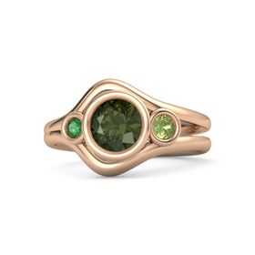 Round Green Tourmaline 14K Rose Gold Ring with Peridot & Emerald