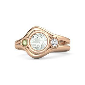 Round Green Amethyst 14K Rose Gold Ring with White Sapphire and Peridot