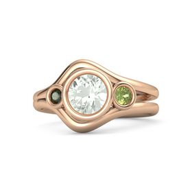 Round Green Amethyst 14K Rose Gold Ring with Peridot and Green Tourmaline