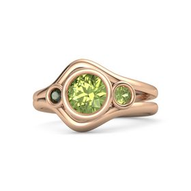 Round Peridot 14K Rose Gold Ring with Peridot and Green Tourmaline