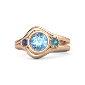 Round Blue Topaz 14K Rose Gold Ring with London Blue Topaz and Blue Sapphire