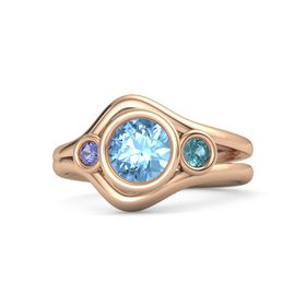 Round Blue Topaz 14K Rose Gold Ring with London Blue Topaz and Iolite