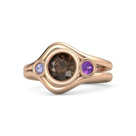 Round Smoky Quartz 14K Rose Gold Ring with Amethyst and Tanzanite