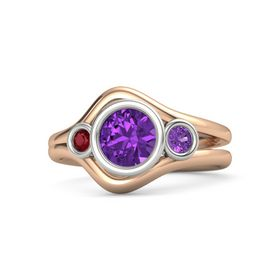 Round Amethyst 14K Rose Gold Ring with Amethyst and Ruby