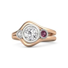 Round White Sapphire 14K Rose Gold Ring with Rhodolite Garnet and White Sapphire