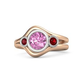 Round Pink Sapphire 14K Rose Gold Ring with Ruby