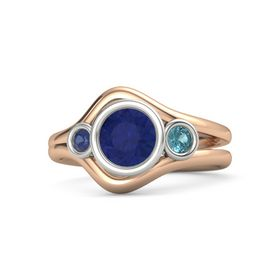 Round Blue Sapphire 14K Rose Gold Ring with London Blue Topaz and Blue Sapphire