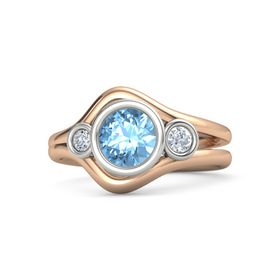 Round Blue Topaz 14K Rose Gold Ring with Diamond