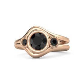 Round Black Diamond 14K Rose Gold Ring with Black Diamond