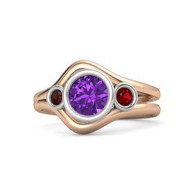 Round Amethyst 14K Rose Gold Ring with Ruby & Red Garnet