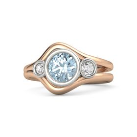 Round Aquamarine 14K Rose Gold Ring with White Sapphire