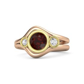 Round Red Garnet 14K Rose Gold Ring with White Sapphire