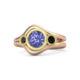 Round Tanzanite 14K Rose Gold Ring with Black Onyx and Black Diamond