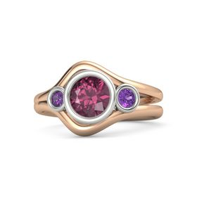 Round Rhodolite Garnet 14K Rose Gold Ring with Amethyst