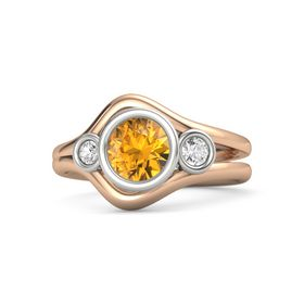 Round Citrine 14K Rose Gold Ring with White Sapphire