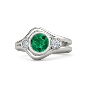 Round Emerald 14K White Gold Ring with Diamond
