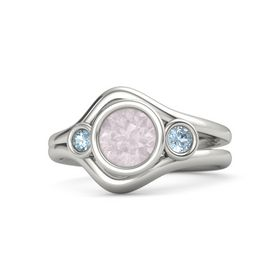 Round Rose Quartz 14K White Gold Ring with Aquamarine
