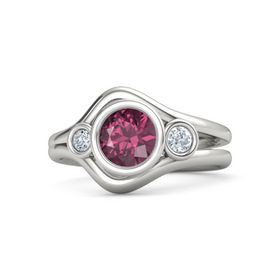 Round Rhodolite Garnet 14K White Gold Ring with Diamond