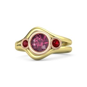 Round Rhodolite Garnet 14K Yellow Gold Ring with Ruby