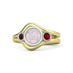 Round Rose Quartz 14K Yellow Gold Ring with Ruby & Red Garnet