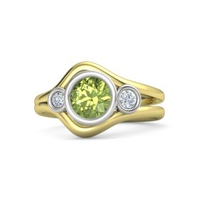Round Peridot 14K Yellow Gold Ring with Diamond