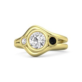 Round White Sapphire 14K Yellow Gold Ring with Black Onyx and White Sapphire