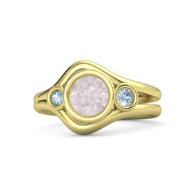 Round Rose Quartz 14K Yellow Gold Ring with Aquamarine