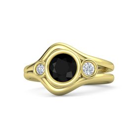 Round Black Onyx 14K Yellow Gold Ring with Diamond