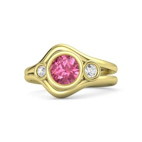 Round Pink Tourmaline 14K Yellow Gold Ring with White Sapphire