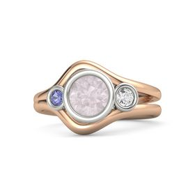Round Rose Quartz 18K Rose Gold Ring with White Sapphire and Iolite