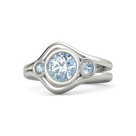 Round Aquamarine 18K White Gold Ring with Aquamarine