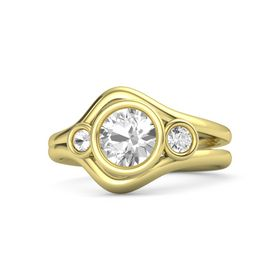 Round Rock Crystal 18K Yellow Gold Ring with White Sapphire and Rock Crystal