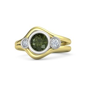 Round Green Tourmaline 18K Yellow Gold Ring with Diamond