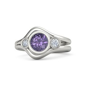 Round Iolite Palladium Ring with Diamond