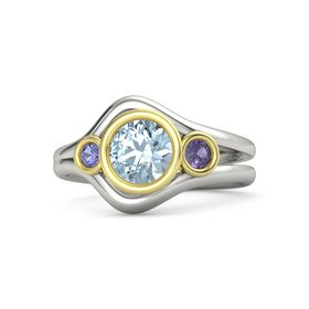 Round Aquamarine Palladium Ring with Iolite