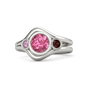 Round Pink Tourmaline Palladium Ring with Red Garnet & Pink Tourmaline