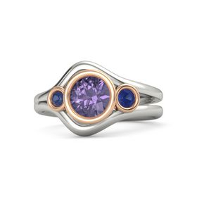 Round Iolite Platinum Ring with Blue Sapphire