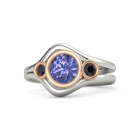 Round Tanzanite Platinum Ring with Black Diamond