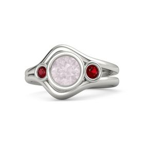 Round Rose Quartz Platinum Ring with Ruby