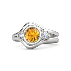 Round Citrine Sterling Silver Ring with Diamond