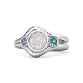 Round Rose Quartz Sterling Silver Ring with London Blue Topaz & Iolite