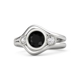 Round Black Onyx Sterling Silver Ring with White Sapphire