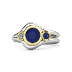 Round Blue Sapphire Sterling Silver Ring with Blue Sapphire and Blue Topaz